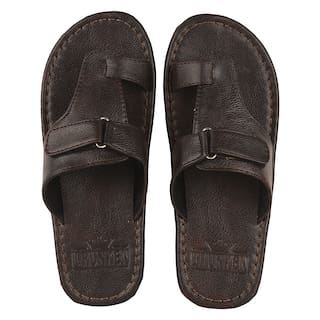 Men's Flat Synthetic Synthetic slippers Brown with Adjustable Strap Size UK/Ind -