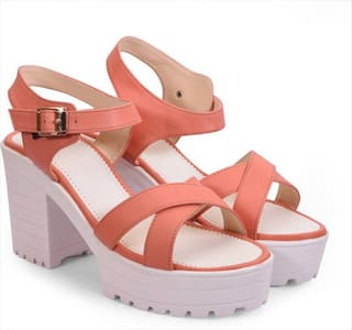 STEPEE peach crossstrap heels