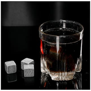 Anself 6pcs 20mm Whisky Ice Stones Drinks Cooler Cubes Beer Rocks Granite with Pouch