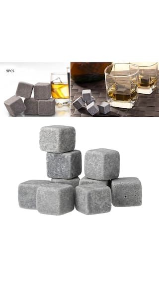 Anself 9pcs Whisky Ice Stones Drinks Cooler Cubes Beer Rocks Granite Pouch