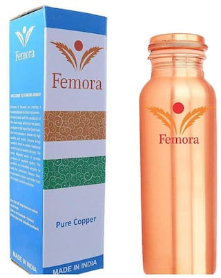 Femora Matt Finish Handmade Lacqour Coated Anti Tarnished Joint Free Thermos Leak Proof Pure Copper Water Bottle, 950Ml