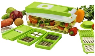 Ganesh 14 In 1 Quick Vegetable Cutter, Chopper, Slicer, Dicer, Grater, Peeler - Green