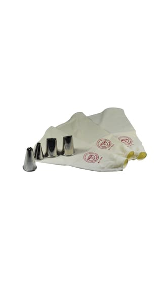 Noor Small 3 Reusable Cake Decoration Icing Bag with 4 Jumbo Nozzles
