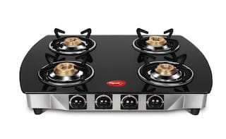 Pigeon Blackline Oval Stainless Steel, Glass Manual Gas Stove