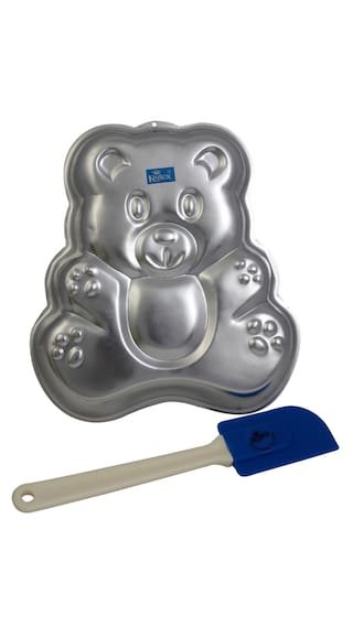 Rolex Aluminium Cake Mould Pans  Teddy bear + Spatulla Small  1 Kg. Cake