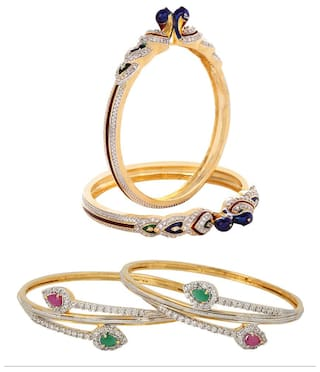 Jewels Galaxy Combo Of Peacock American Diamond Bangles and American Diamond Ruby Green Bangles - Pack Of 4