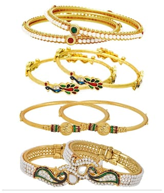Jewels Galaxy Combo Of Free Size Broad Mayur Bangles, Gold Plated and Pearls Bangles - Pack Of 8