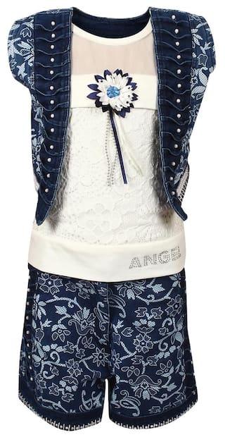 Arshia fashions Girls Top Shorts and Jacket Set