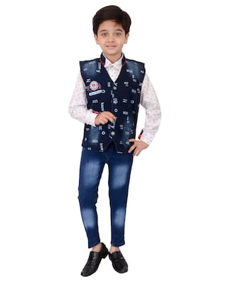 Arshia Fashions Boys Shirt Waistcoat and Jeans with Tie Set Party wear