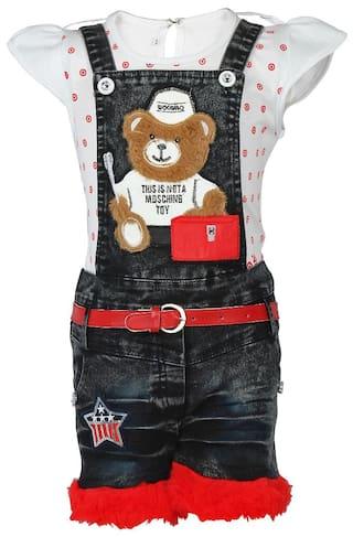 Arshia Fashions girls partywear top and denim dungaree set