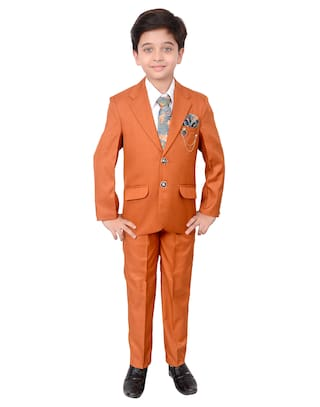 Arshia Fashions Boys Coat Suit with Shirt Pant Tie Party Wear