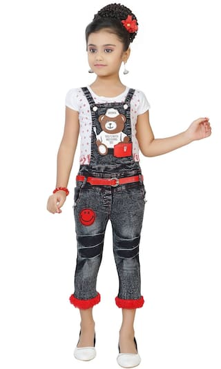 Arshia Fashions Girls Party Wear Top And Denim Dungaree Jeans Set