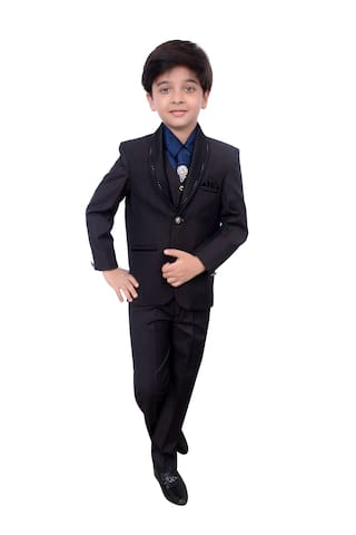 Arshia Fashions Boys Five Piece Coat Suit with Shirt Pant Waistcoat & Tie set - B190