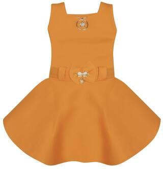 Benkils Cute Fashion Baby Girl's Soft Skuba Party Wear Mustard Frock Dress