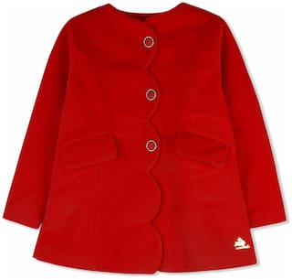 Cherry Crumble Baby Girl Cotton Blend Solid Winter Jacket - Red