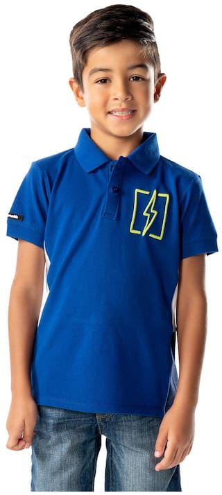 Cherry Crumble Blended Solid T shirt for Baby Boy - Blue