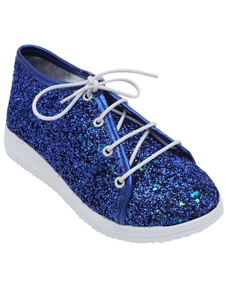 D'chica Chic & Shimmery Lace Up Shoes Blue For Girls