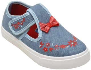D'chica Chic Embroidered Denim Mary Janes For Girls