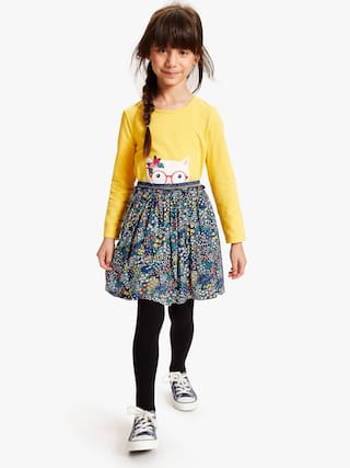 Fatfish Girl Polyester Printed Flared skirt - Blue