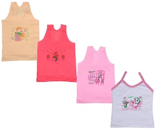 IndiWeaves Girls Pure Cotton Cartoon Print Slips/Vests