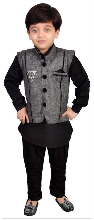 Kabeer Black Modi Jacket With Kurta Pajama