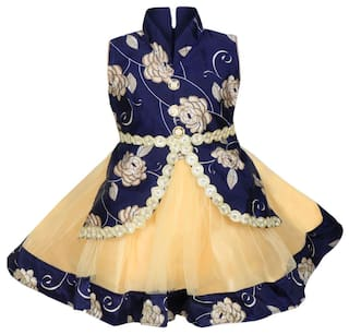 Mpc Cute Fashion Baby Girl's Satin and Soft Net Frock Dress For