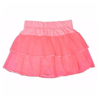 Mummamia Girls Pink Color Net Layerd Shirt With Attached Shorts