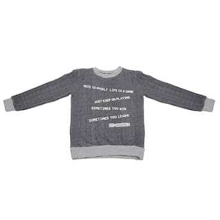 Shishu Boy Wool Cartoon print Sweater - Grey