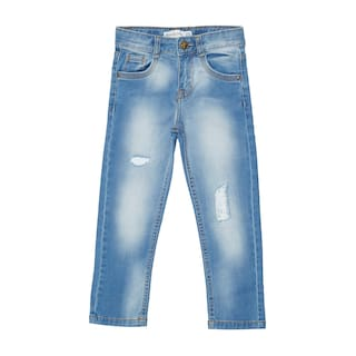 Tales & Stories Blue Cotton Mid Rise Ankle Length Jeans for Boys