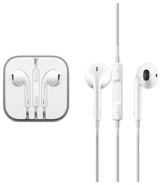 MSTC Apple Earphones Compatible for iPhone 5S,5C,6,6S,6+ Wired in-Ear Headphone with 3.5mm Jack & Mic for Apple Smartphones (White)