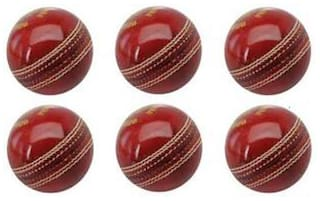 GLS Genuine Leather 2 Piece Cricket Ball Standard Size 5.5 - Pack of 6