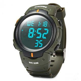Skmei 1068 LED Digital Military Sports Watch Water Resistant Alarm Day Date Army Green Stopwatch From Best Buy Store # International Bazaar