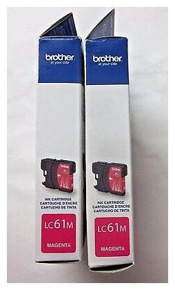 2 Sealed Authentic Brother LC61M Magenta Ink Color Cartridges Exp. 3/2014