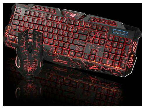 3 Colors Crack Illuminated LED Backlight USB Wired PC Gaming Keyboard Mouse Set