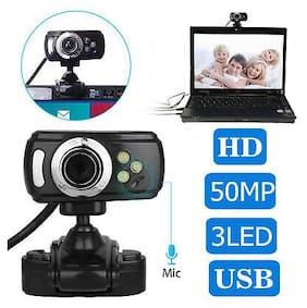 360° HD 50 Megapixels 3LED Webcam Camera with MIC Clip-on for Computer Notebook