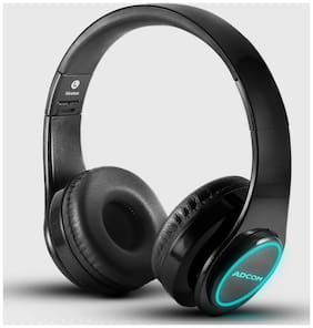 Adcom Luminosa - Wireless Bluetooth LED Over-Ear Foldable Headphone with Built in Mic, LEDs, Deep Bass and Passive Noise Cancellation for All Smartphones