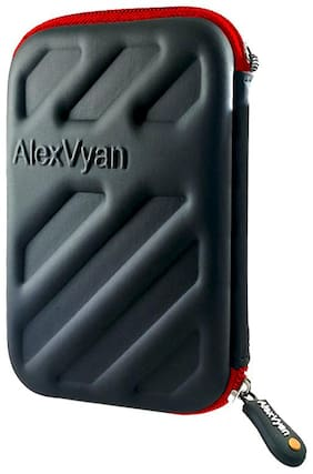 AlexVyan Black & Red Shock Proof External Hard Disk Case Protector for Seagate, WD, Transcend, Lenovo, Sony External Drive Cover HDD Casing Bag Pouch