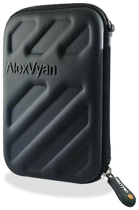 AlexVyan HDD Black Shock Proof External Hard Disk Case Protector for Seagate, WD, Transcend, Lenovo, Sony External Drive Cover Casing Bag Pouch