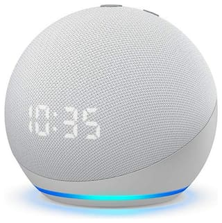 Amazon ALL-NEW ECHO DOT (4TH GEN) WITH CLOCK Wired Smart speaker ( White )