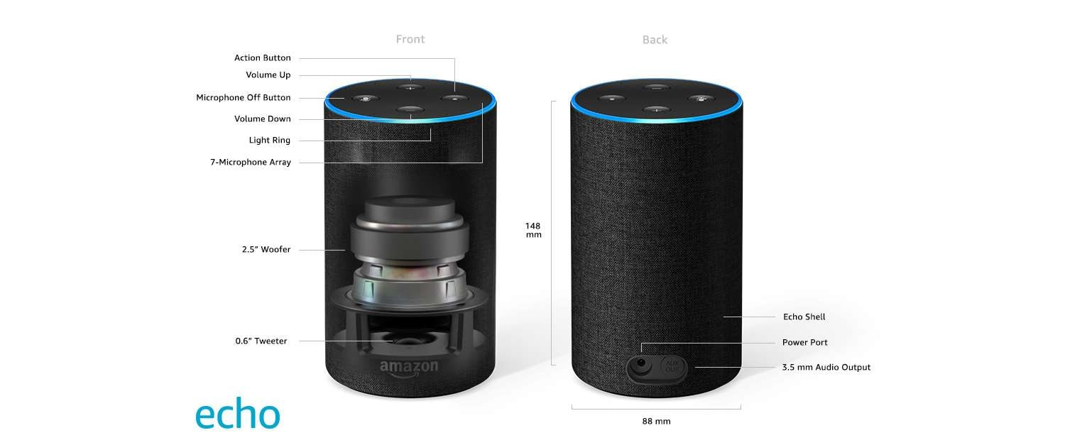 Amazon Echo Twin Pack Portable Wired Speaker (Black)