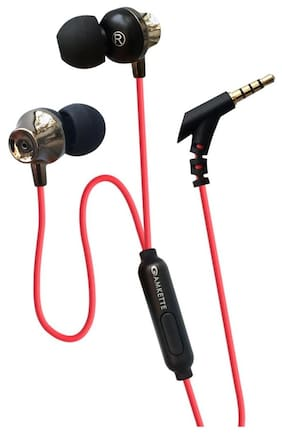Amkette Ergo Fit E7 In Ear Earphones With Mic and Remote Control (Red)