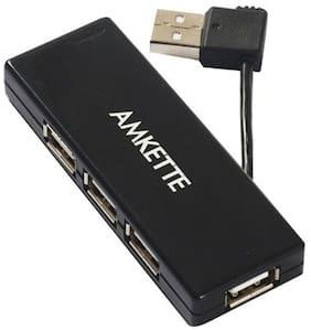Amkette FUH341PP High-Speed 4 Port USB 2.0 Hub (Black)