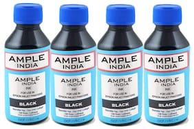 Ample India Fine Quality 100 ml Compatible ink for Inkjet/Deskjet Printers (Black) Pack Of 4