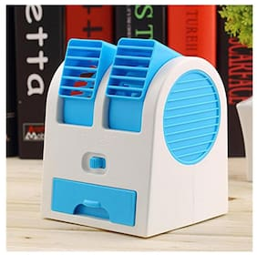 Best of All Mini Fan & Portable Dual Bladeless Small Air Conditioner Water Air Cooler Powered By Usb & Battery Use Of Car/Home/Office (Assorted Colors )