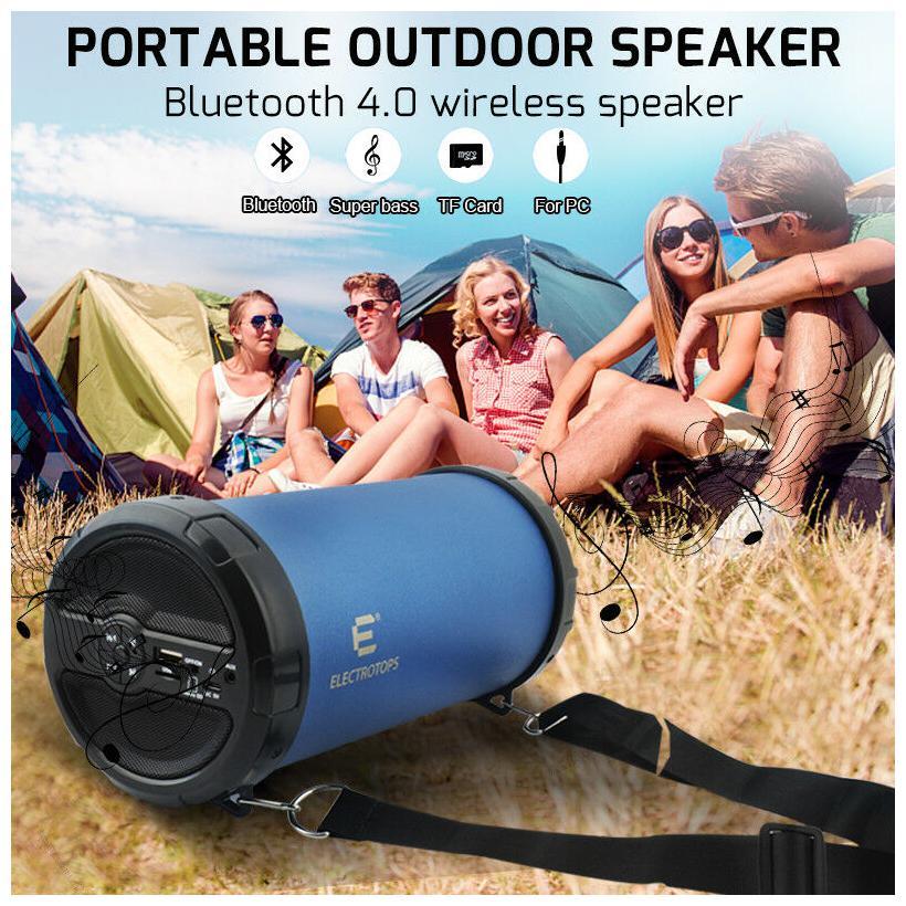 bluetooth speakers Cylinder Hi-Fi Bazooka Loud high quality blue great sound