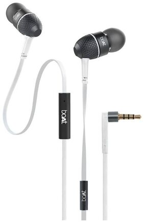 boAt BassHeads 220 Super Extra Bass In-Ear wired Headphones with Mic (Frosty White)