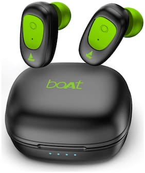 boAt Airdopes 201 True Wireless Earbuds with BT v5.0  IPX 4 Sweat and Water Resistance  in-Built Mic with Voice Assistant (Viper Green)