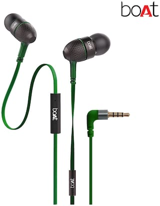 boAt BassHeads 225 Super Extra Bass In-Ear wired Headphones with Mic (Forest Green)