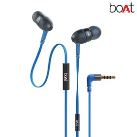 boAt BassHeads 225 Super Extra Bass In-Ear wired Headphones with Mic(Blue)