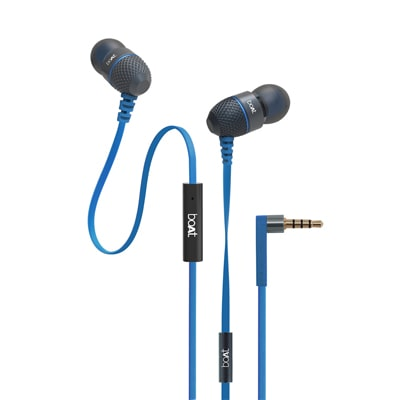 Boat Bassheads 225 In-Ear Super Extra Bass Headphones With One Button Mic (Blue)